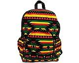Rasta Aztec Tribal Pattern Large Padded Travel School Adjustable Backpack Bookbag w/Zipper & Water Bottle Holders (Black/Stripes) For Sale