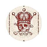Clubs Red Crown Skeleton Poker Card Pattern Anti-slip Floor Pet Mat Round Bathroom Living Room Kitchen Door 80cm Gift