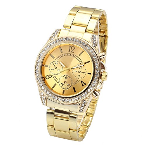 Top Plaza Unisex Gold Fashion Womens Mens Crystal Accented Analog Quartz Bracelet Watch (Golden)