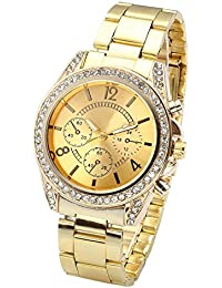 Unisex Gold Fashion Womens Mens Crystal Accented Analog Quartz Bracelet Watch (Golden)