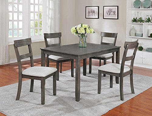 Henderson 5-Pc Grey Wood Dining Table Set by Crown Mark