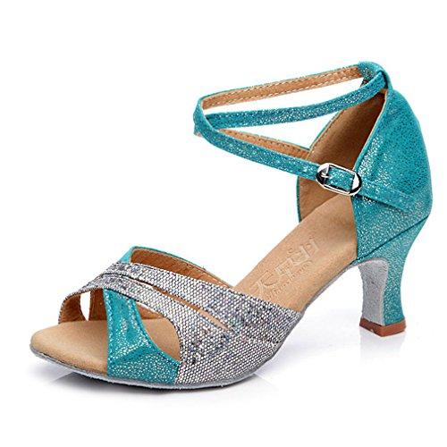 Poisson Bouche Paillettes Croix Moyens Talons Latine Paon Chaussures Danse Bleu Cheville Xianshu Femmes De Sandale Boucle Sangle Escarpins vwxCPgpWq1