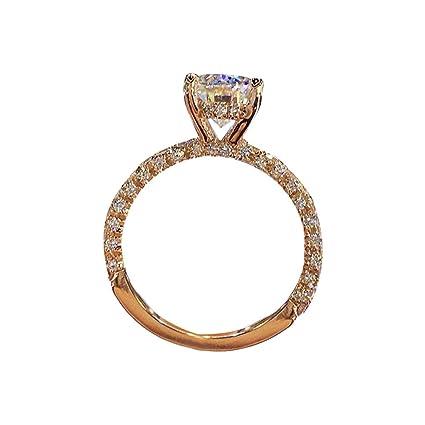 07d19a00f3d49 Amazon.com: Haluoo Cubic Zirconia Promise Rings Halo Solitaire ...