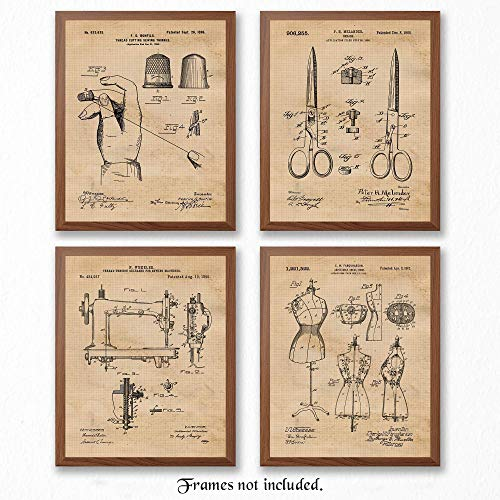 Vintage Sewing Patent Poster Prints, Set of 4 (8x10) Unframed Photos, Wall Art Decor Gifts Under 20 for Home, Office, Studio, Salon, School, College Student, Teacher, Designer, Arts & Fashion Fan from STARS BY NATURE