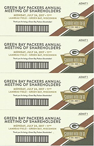 2017 Green Bay Packers Annual NFL Football Shareholder Meeting Tickets Lambeau Field 7.24.17 Great Piece of Packers History