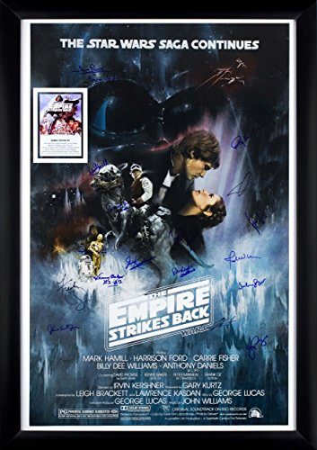 Autographed Signed Framed (Star Wars - The Empire Strikes Back Cast Signed Movie Poster 27x41 in Framed)