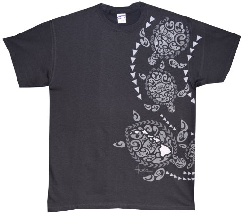 T-shirt Free Ship (Kauai Imprint - RJC Tribal Sea Turtle Pre-Shrunk Cotton T-shirt in Charcoal - 2X)