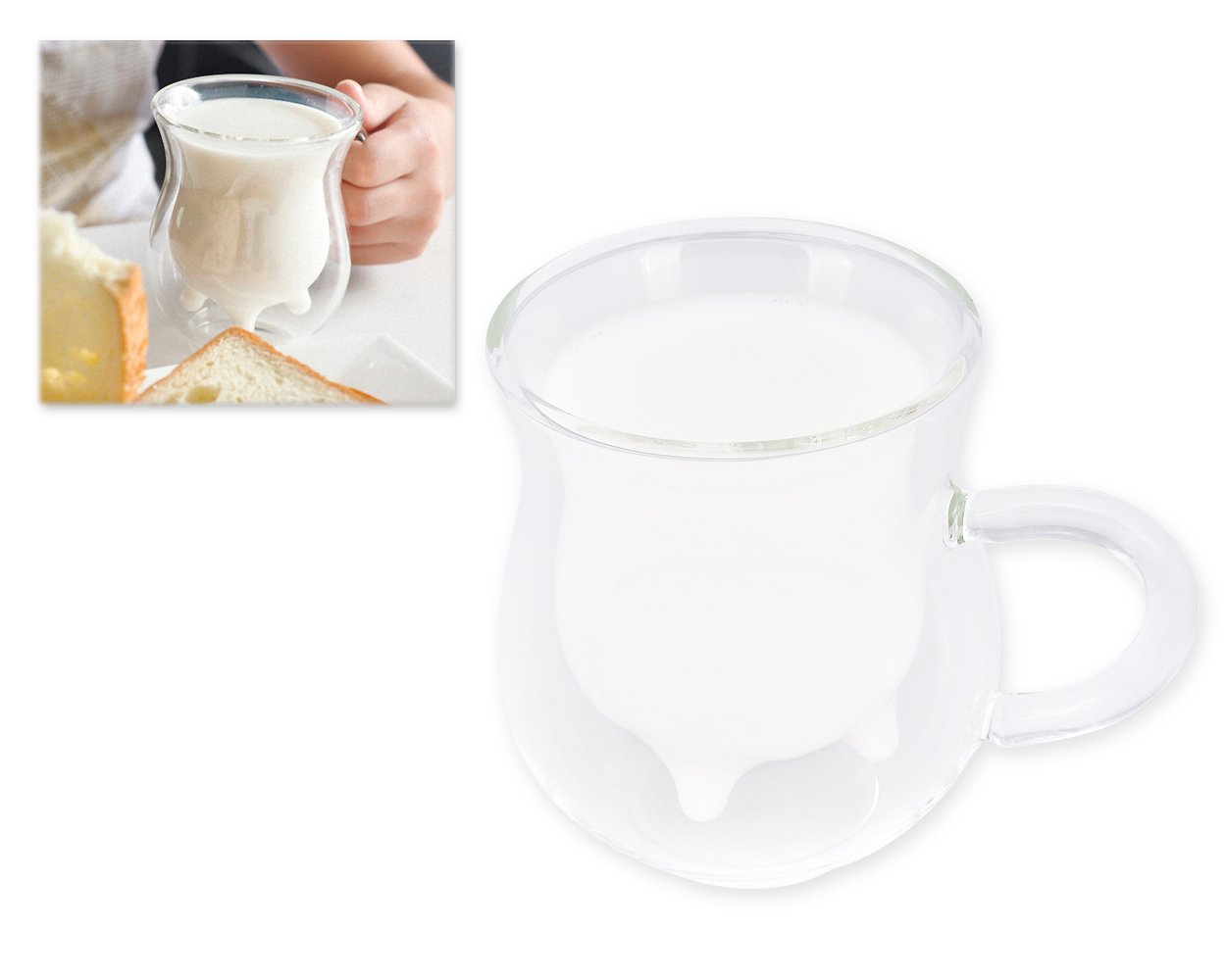 Ace Select Double Walled Glass Milk Cup, Creative Beautiful Gifts 3D Double Layer Crystal Glass Cup Mug - Cute Calf Cow Udder Shaped Creamer Pitcher Milk Bottle