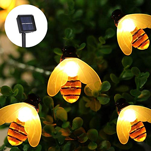 Solar String Lights, 21ft 30 LED Outdoor Bee String Lights 8 Modes, Waterproof Decorative Bee Fairy Lights for Patio, Garden, Gate, Yard, Party, Wedding, Christmas (Warm White) (A On String Bee)