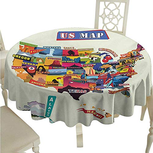 Zodel Stain-Resistant Tablecloth Wanderlust US Map Seashore and Sunflowers Tourist Attractions Jersey Cow Milk Corn Field Easy to Clean D70 Suitable for picnics,queuing,Family -