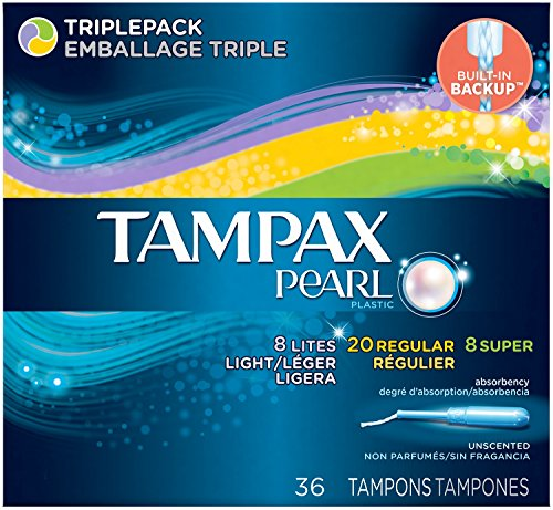 Tampax Pearl Plastic Triple Pack, Light/Regular/Super Absorbency, Unscented Tampons, 36 ()