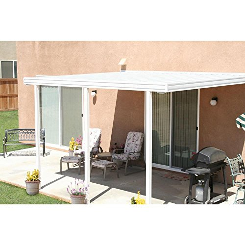 14 ft. x 8 ft. White Aluminum Attached Solid Patio Cover ...