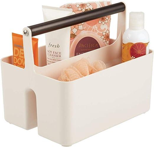 mDesign Caja organizadora para cuarto de baño – Cesta con asa ...