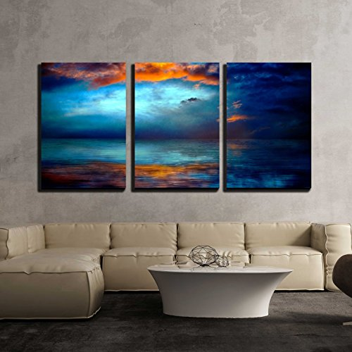 "wall26 - 3 Piece Canvas Wall Art - Dramatc Sunset Sky Over Water - Modern Home Art Stretched and Framed Ready to Hang - 24""x36""x3 Panels"