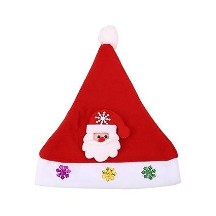 b09fd030735fc Amazon.com  KICODE TOPmountain Christmas LED Light Hat Santa Elk Snowman  Xmas Cap Party Costume Supplies Decoration Adult Kids Glowing Gift Toy   Home   ...