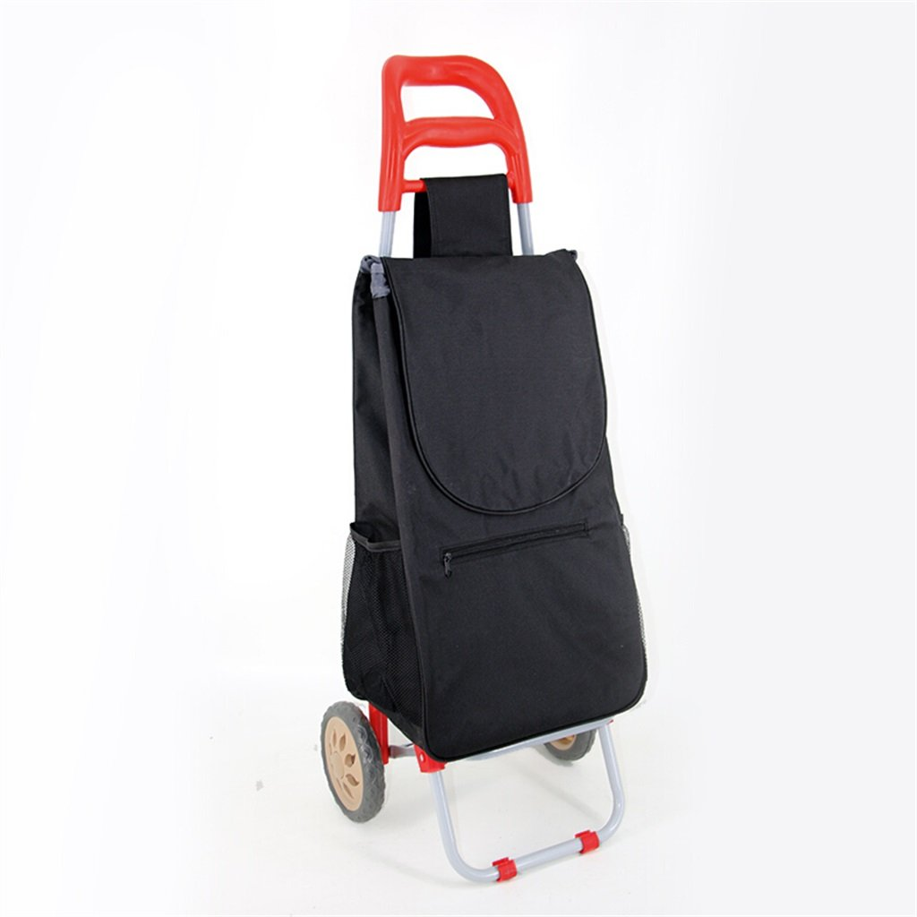 Handcart Hand Truck Pull Rod Car Portable Supermarket Shopping Cart Collapsible Iron Tube Trolley Household Waterproof Bag Seniors Small Cart 25 Kg Load (Color : Red)