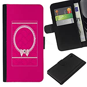 iBinBang / Flip Funda de Cuero Case Cover - Bowtie Pink White Pattern Purple - Sony Xperia Z4