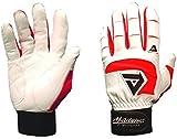 Akadema Professional Batting Gloves (White/Red, Medium)
