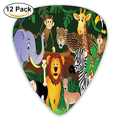 Newfood Ss Animals In The Jungle Funny Expressions Exotic Comic Cheer Natural Habitat Guitar Picks 12/Pack ()