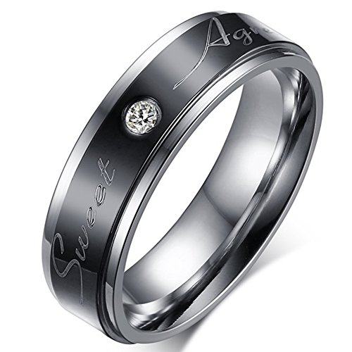Men's Wedding Bands Classic 6MM Tungsten Titanium Steel Sweet Agreement Promise Rings for Him Rhinestone High Polish Comfort Fit Size - Agreement Wholesale