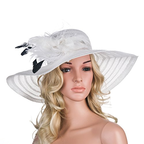 Womens Dress Church Kentucky Derby Wide Brim Feather Wedding Veil Sun Hat A265 (White)