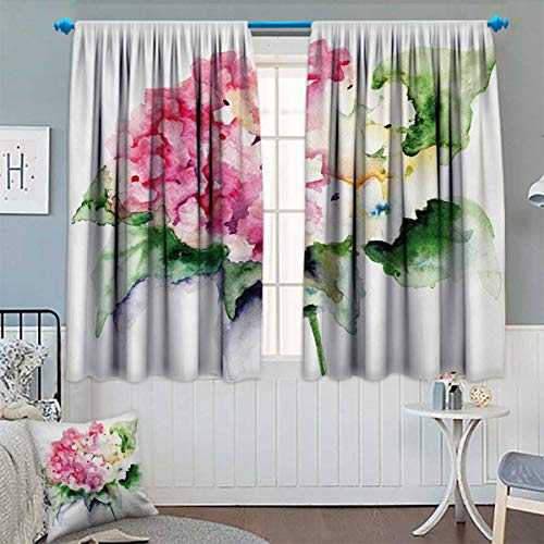 Chaneyhouse Floral Window Curtain Fabric Hydrangea Flower Bouquet in Watercolor Blossoms Botany Petals Image Drapes for Living Room 55