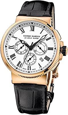 New Mens Ulysse Nardin Marine Chronograph Manufacture 18k Rose Gold 43mm Limited Edition Watch 1506-150/LE