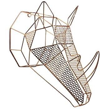 Kate and Laurel Orbie Geometric Metal Mounted Rhino Head Wall Sculpture Art, Rose Gold