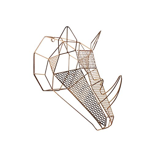 Kate and Laurel Orbie Geometric Metal Mounted Rhino Head Wall Sculpture Art, Rose Gold Designer Metal Wall Decor Sculpture