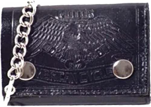 100% Leather Tri-fold Chain Wallet Black #946-15