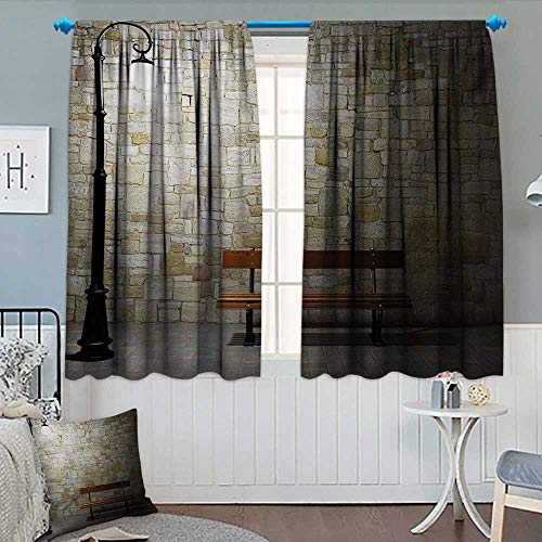 Anhounine Street,Blackout Curtain,Modern Avenue at Dark Night with a Open Lamp and Bench and Stone Wall Behind Image,Waterproof Window Curtain,Multicolor,W72 x L84 - Ashton Wall Lamp