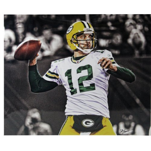 AARON ROGERS THROWING BALL GREEN BAY PACKERS 20x24 WILLIAM HAUSER PHOTO SIGNING