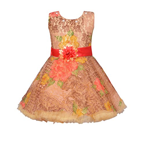 Aarika Girl's Fawn Party Special Four Layered Extra Flared Frock (FK-974-FAWN_30_8-9 Years) by Aarika
