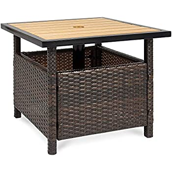 Amazon Com Best Choice Products Wicker Patio Umbrella Stand Table