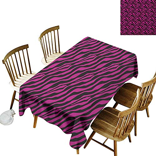(kangkaishi Easy to Care for Leakproof and Durable Long tablecloths Outdoor Picnic Wild Zebra Background Stripes Savannah African Exotic Youth Culture Hippie W14 x L108 Inch Magenta Onyx)