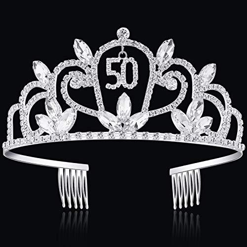 BABEYOND Crystal Birthday Tiara Rhinestone Princess Crown Happy Birthday Crowns Silver Diamante Happy 16/21/30/40th Birthday (Silver-50th) -