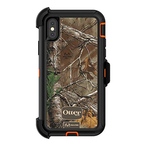 OtterBox 77-57220  DEFENDER SERIES Case for iPhone X (ONLY)  - (BLAZE ORANGE/BLACK W/REALTREE XTRA CAMO)