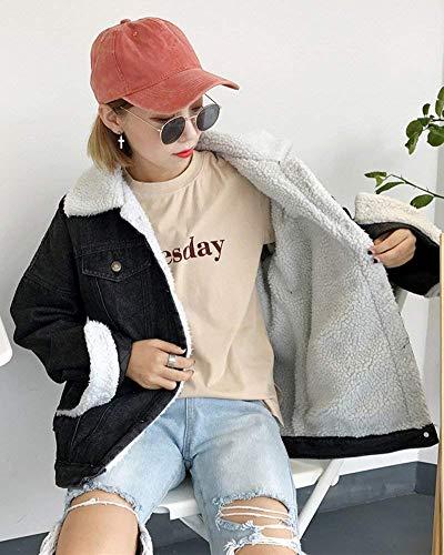 Donna Fashion Moda Schwarz Cappotto Autunno Spesso Invernali Bavero Donne Button Manica Giacche Tasche Outerwear Casuale Velluto Fidanzato Jeans Sciolto Giacca Lunga Con Hipster Di Classiche qwrqC0