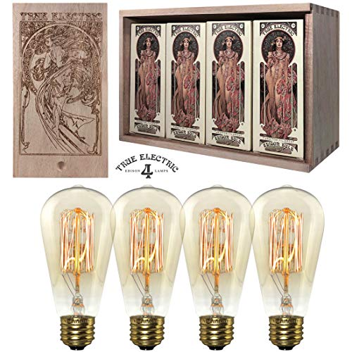 4-Pack Vintage Edison Bulbs by True Electric - 60W - Dimmable Light Bulbs - ST58 - Squirrel Cage Filament - Incandescent Filament - E26 Bulb Base - Antique Amber Glass