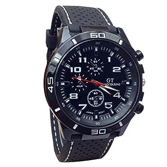 Reloj de pulsera Hulky para hombre, esfera de cuarzo, correa de piel, esfera redonda, convexo, correa grande: Amazon.es: Iluminación