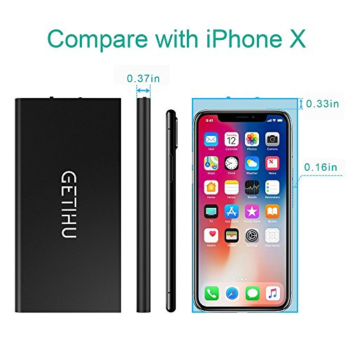 GETIHU Phone Charger 10000mAh Portable Power Bank Ultra Slim LED Flashlight Mobile External Battery Backup Thin 2 USB Ports Powerbank for iPhone X 8 7 6 Plus Android Cell Phone iPad (Black) by GETIHU (Image #1)