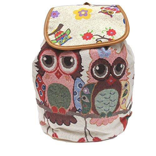 Arazzo Owl design zaino Zaino zaino borsa a tracolla