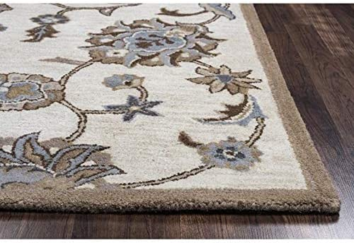 Rizzy Home Valintino Collection Wool Area Rug, 8 x 10 , Taupe Blue Brown Khaki Floral