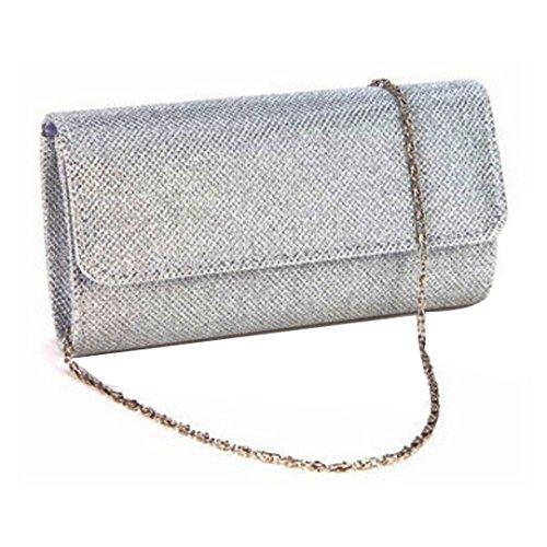 Orfila Women's Bling Shiny Evening Handbag Wedding Ball Prom Clutch Bridal Purse Crossbody Bag Silver
