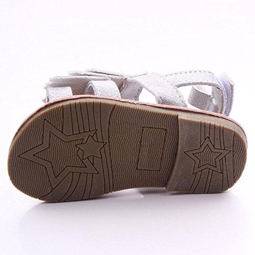 Zapatos de bebé,Xinantime Borla las sandalias del niño primeros caminante (13, Khaki) Plata