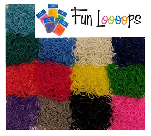 Just For Laughs Fun Loops Brand Latex-Free Loom Bands, 4800 Pieces, Random Colors (Fun Loop)