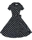Tempt me Womens 50s Style Polka Dot Short SLeeve Swing Vintage Dress