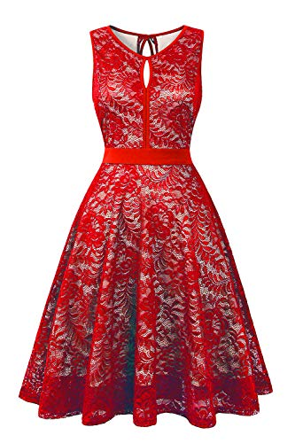 - BBX Lephsnt Women's Vintage Floral Lace Sleeveless Party Dress Cocktail Formal Swing Dress Red