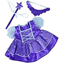 """Stuffems Toy Shop Purple Fairy Princess Dress w/Wand Teddy Bear Clothes Outfit Fits Most 14"""" - 18"""" Build-a-bear, Vermont Teddy Bears, and"""