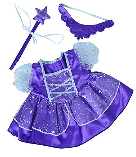 Purple Fairy Princess Dress w/Wand Teddy Bear Clothes Fits Most 14